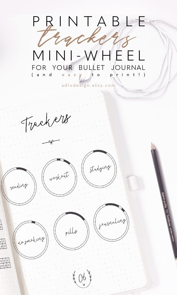 Track any habit (mood, sleep, workout, pills…) you want with these minimal wheel tracker printable in black and white and glue them onto your bullet journal. They have 31 sections for each days of the month. #bulletjournal #bulletjournalcommunity #bulletjournaltracker #minimalistbujo #plannerstickers #adludesign