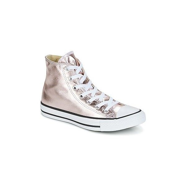 Converse CHUCK TAYLOR ALL STAR METALLIC CANVAS HI ROSE QUARTZ (£63) ❤ liked on Polyvore featuring shoes, sneakers, silver, white canvas sneakers, star sneakers, canvas trainers, white sneakers and white canvas shoes