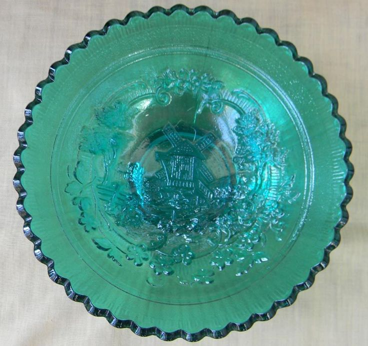 "Imperial Teal 7"" Carnival Glass Windmill Bowl $80  Love this"