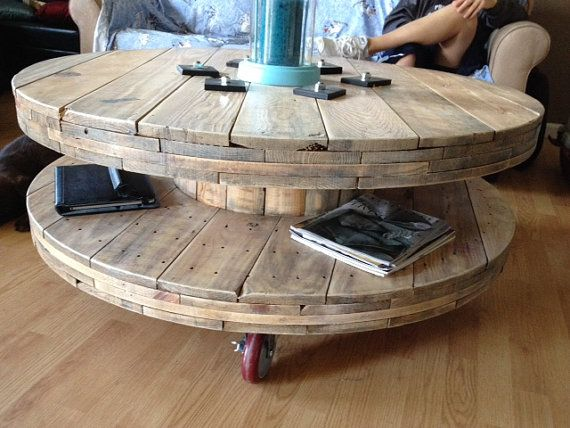 Spool Coffee Table Industrial Wheels Rustic Shelf by OneUpCycled, $275.00