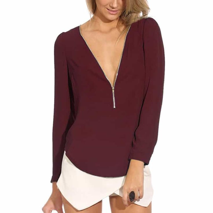 Long Sleeve Chiffon With Zipper Blouse //Price: $10.95 & FREE Shipping //     #love