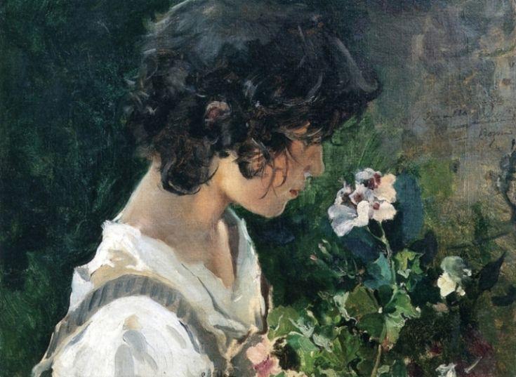 ホアキン ソローリャ  「花を持ったイタリアの少女」