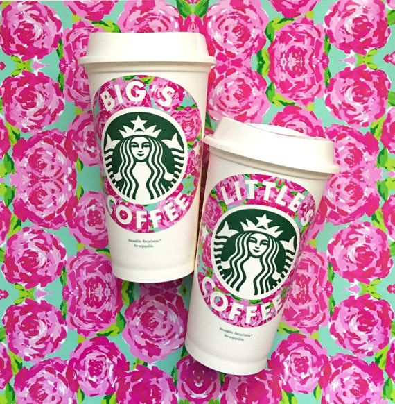 Sorority, Bid Day, Big Little Gift, Personalized Starbucks Cup, Coffee, Monogrammed, Lilly