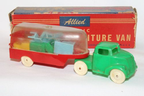 "1950's Allied Moving and Furniture Truck, Boxed Original - 6"" long"