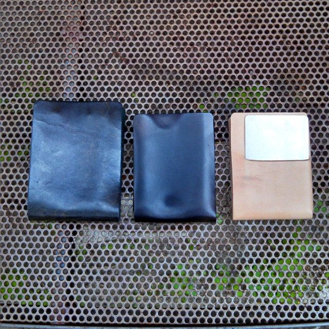 Our standard size #stitchlesswallet  shown in contrasted against the slimmed down prototypes. #horsehide and #naturalleather #cowhide. the steel card is the size of cc.  Can accommodate a few or many cards. FYI, the slimmed down version is not for lots cards and lots of bills. You can use lots of cards and somebills (8 ish). If your #edc is a LOT then you probably need one of the Castanza #Wallets or a briefcase.  #mensaccessories #leathergoods #madetolast #madeinminnesota #madeinusa