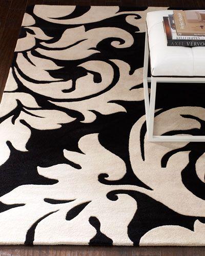 Damask Rug · Black White ...