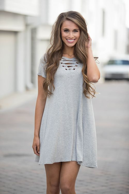 Walking Together Dress Heather Grey - The Pink Lily
