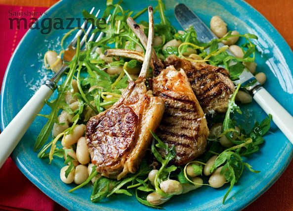 Lamb cutlets with cannellini beans and parmesan: a lovely spring supper from Sarah Randell at Sainsbury's magazine