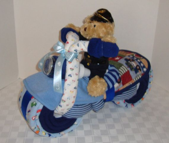Motorcycle Diaper Cake Police Policeman Police by arizonababycakes, $98.00