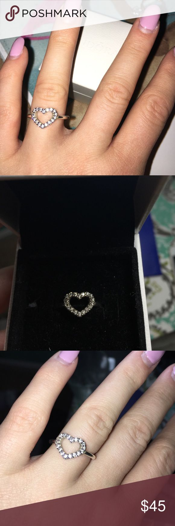 """Pandora Sterling Silver """"Be My Valentine"""" Ring beautiful sterling silver pandora ring. I got this from an ex and it just needs to go lol. This is in great condition I took good care of it. Pandora Jewelry Rings"""