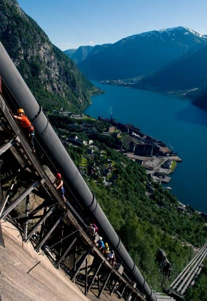 Stunning view climbing the old penstock