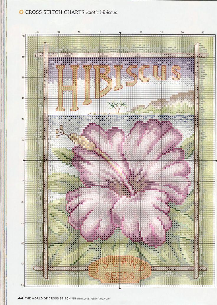 natty's cross stitch corner: Exotic Hibiscus - free