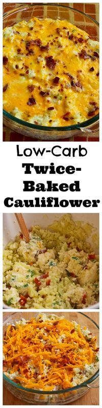 This Low-Carb Twice Baked Cauliflower Casserole contains bacon, cheese, and sour cream, tastes like twice-baked potatoes, and is incredibly satiating with only around 4 grams net carb per serving! From KalynsKitchen.com #healthy #lowcarb