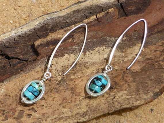 Turquoise Earrings Hill Tribe Silver Jewellery Sterling Silver