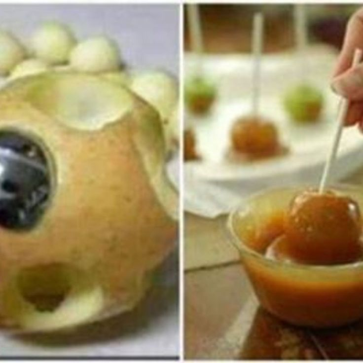 Bite Size Caramel Apples: Use a melon ballers to make bite sizes and put a candy stick thru. Melt caramels and roll apples in, allowing excess to drip off and scraping bottom. Roll in peanuts, sprinkles or other toppings. Then set on waxed paper and cool for caramel to set. Can also set in mini-cupcake papers.