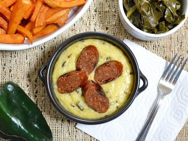 *Roasted Poblano Grits w/ Chorizo (sub homemade turkey chorizo)