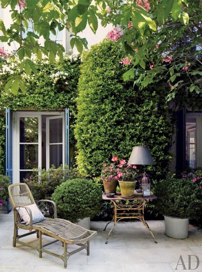 Lovely patio ~ Love the landscaping and the French doors with blue shutters.