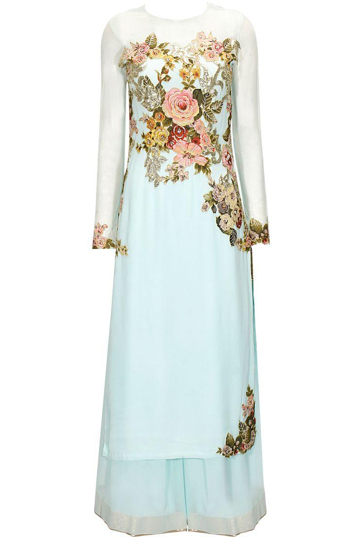 Aqua blue floral applique work kurta set by Eshaani Jayaswal. Shop now: www.perniaspopups.... #kurta #beautiful #designer #eshaanijayaswal #pretty #accessory #shopnow #perniaspopupshop #happyshopping