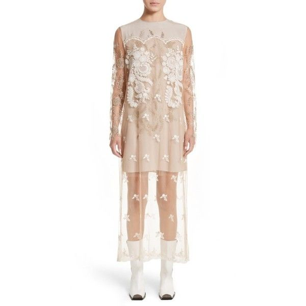Women's Stella Mccartney Embroidered Tulle Lace Dress ($4,245) ❤ liked on Polyvore featuring dresses, camel, camel dress, white embroidered dress, embroidery dress, tulle cocktail dresses and lace cocktail dress
