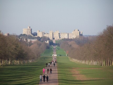 View of the long walk and Windsor Castle from Snow Hill