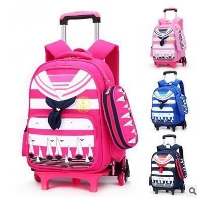 39.15$  Watch here  - Brand Kids Rolling Backpacks For School Children's Trolley bag  On wheels School Boy's Girls Trolley Suitcase Kids luggage Bags