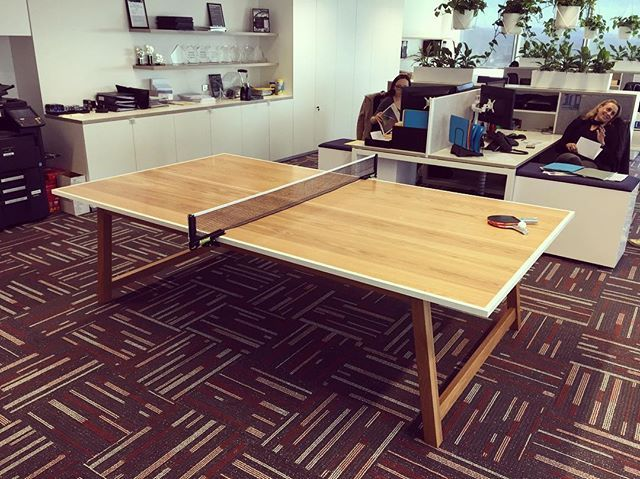 "The guys at Arrive Wealth Management scheduled a Friday delivery of their new Table Tennis / ""Boardroom"" Table - nice timing. #makimaki #pingpong #tabletennis #boardroomtable #futnituredesign #custommade #brisbanemade #brisbaneoffice"