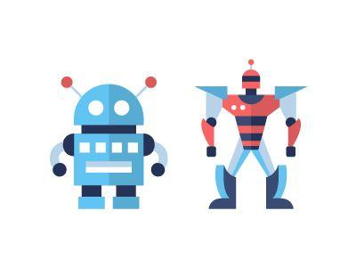 Robots - flat design icons set