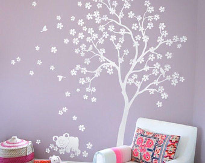 """Bianco albero muro Decalcomania Nursery Wall Decal Kids parete arredamento della camera con Koala e fiori di ciliegio bianco parete murale tatuaggio grande 85 """"x 76"""" - KC013"""
