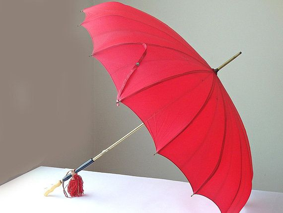 Vintage Umbrella Parasol Red Pagoda Style Black Gold Bakelite Handle Red Umbrellas Parasols Movie Props Wedding Accessories Black Gold Jewelry Vintage Umbrella Red Umbrella