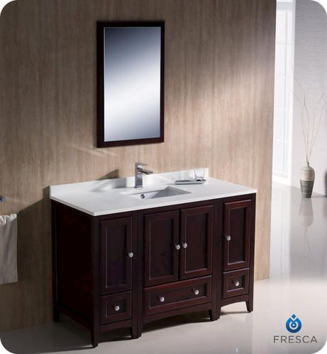 Fresca oxford 48 mahogany traditional bathroom vanity w - Menards bathroom vanities 48 inches ...