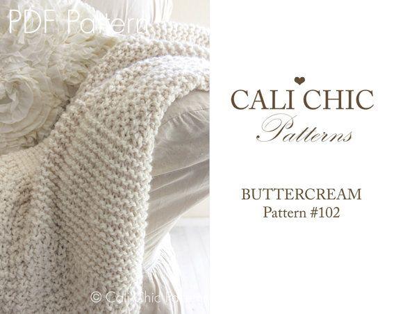 Beginner Knitting Blanket PATTERN 102  by CaliChicPatterns on Etsy