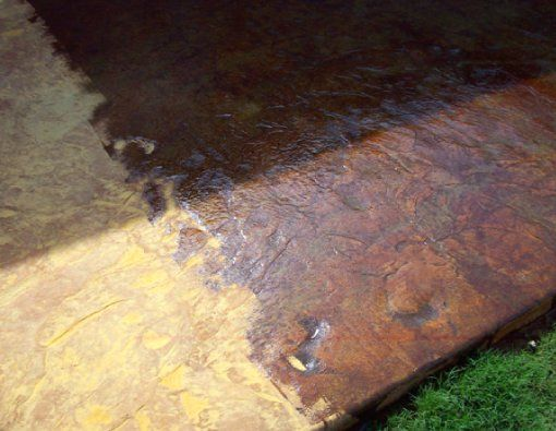 Acid stained stamped concrete patio backyard pinterest for How to clean unsealed concrete floors