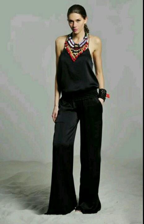 Black jumpsuit + statement necklace | cool ideas ...