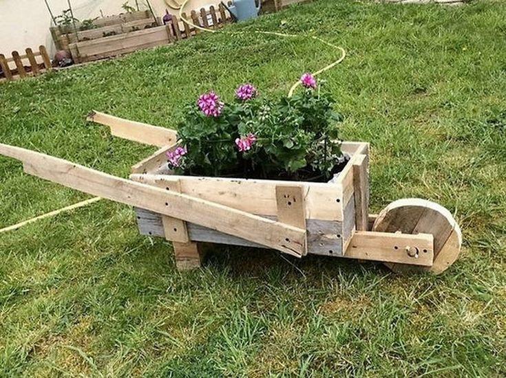 Wood Pallet Wheelbarrow Planter
