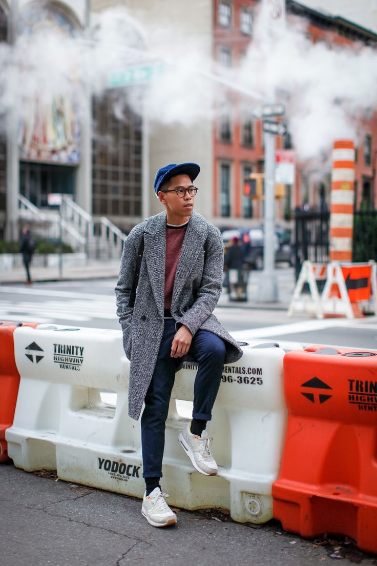 SHOP THE LOOK: Topman Coat // Life/After/Denim Sweater // Zara Trousers // Nike x A.P.C. Sneakers // M0851 Backpack // Ultraolive Hat