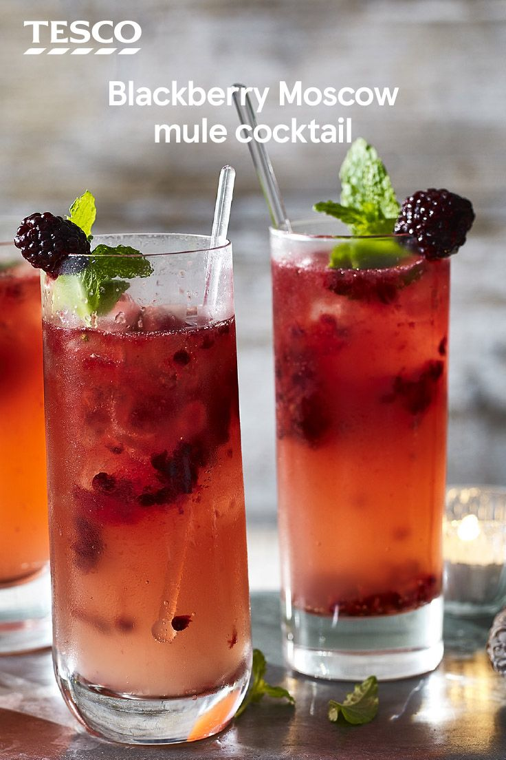Fruity and refreshing, this blackberry Moscow mule recipe makes a delicious festive tipple. With frozen blackberries, vodka and fiery ginger beer, this long drink is an ideal Christmas cocktail. | Tesco