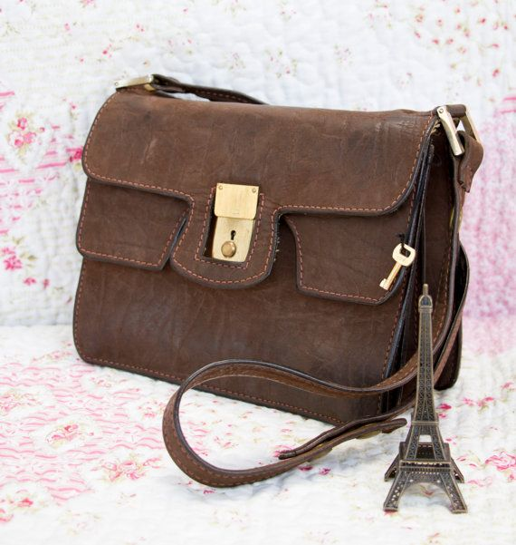 Corrine French Vintage Dark Tan Leather by dandeliondaydreamer on Etsy, $78.00