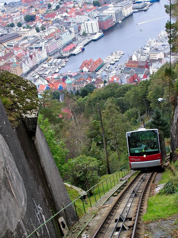 Fløibanen in Bergen, Norway - from the top of Mount Fløyen you can enjoy a spectacular view of the city and its surrounding fjords.