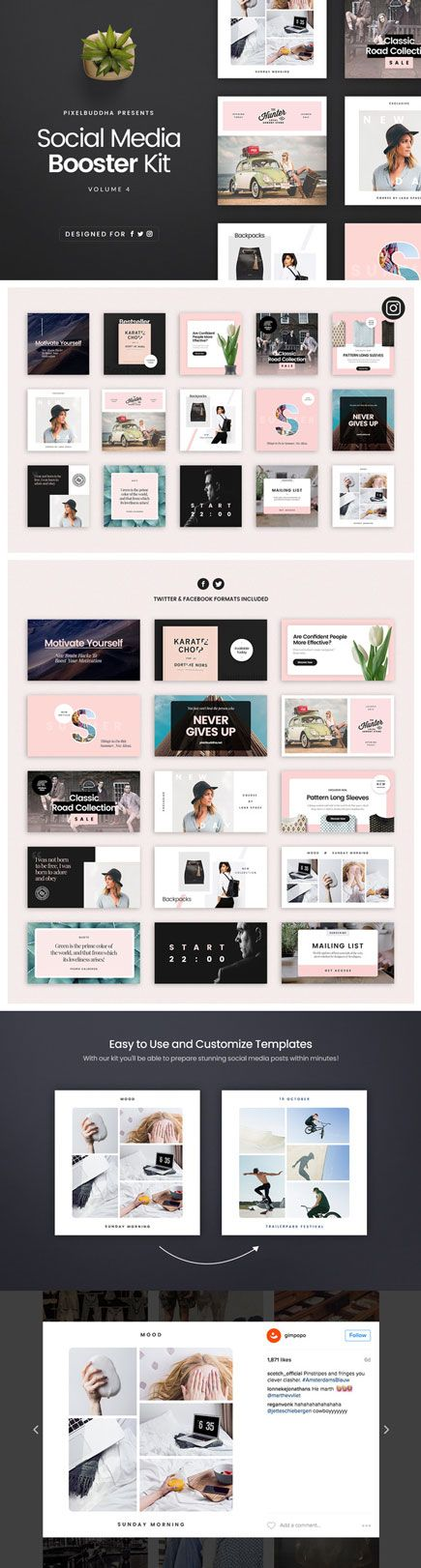 the #SocialMedia Booster Kit brings you the brand-new style: new colors, grids, and fonts. There is everything you need to fill your social media with impressive, standing out publications. #Instagram #facebook #twitter #fashion #eCommerce #branding