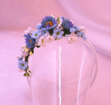 Bleu Sky Floral headband flowergirl accessory Bridal wedding faerie costume fairy hair flowers on Etsy 16,50eur