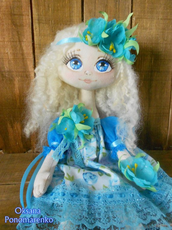 Floweret-Art doll blonde-Collectable doll-Decor by DollCotton