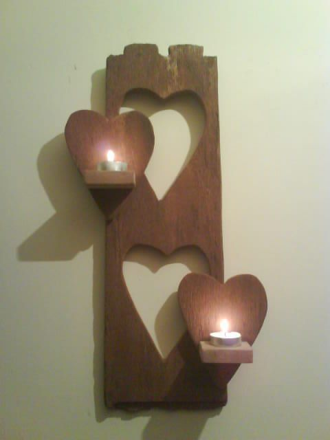Driftwood with cutout hearts candle holder