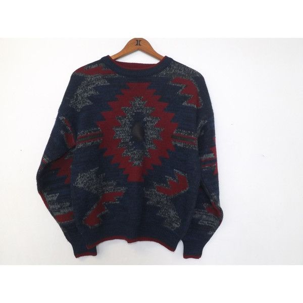 Vintage 80s Men's Women's Atlantic Traders Geometric Ski Sweater... (£9.91) ❤ liked on Polyvore featuring men's fashion, men's clothing, mens leather apparel, mens ski apparel, hipster mens clothing, 1980s mens clothing and vintage mens clothing