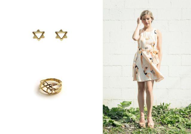 Marilie Jacob, Triangle Rosace earrings et bague arabesque. Robe, Noémiah.