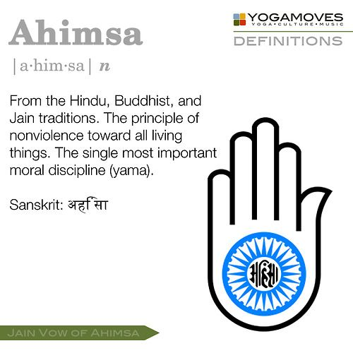 Isabelle A. ~ Ahisma means nonviolence. An example would be if you and your friends disagree on something, instead of fighting find a compromise or agree to disagree.