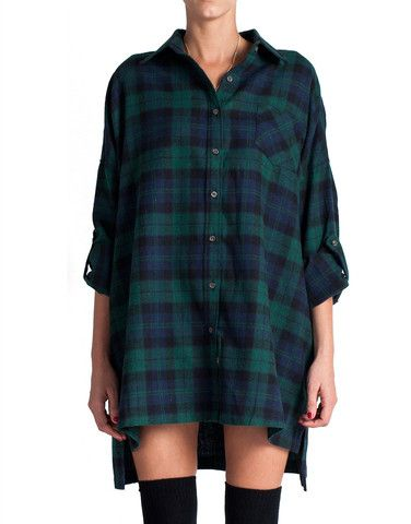 Plaid Flannel Shirt Dress - Green