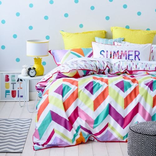 Beautifully bright and colourful, the Aztec quilt cover from our exclusive teen range – Ruckus, will be a favourite for the bedroom. Featuring a fun geometric pattern in bold, vibrant colours and a unique reverse print of scattered matchstick shapes, this design will bring life into any space. Mix and match with other accessories in the Ruckus range to create your own unique look.