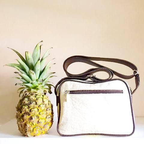 A-one Unisex Piñatex pineapple leather bag white