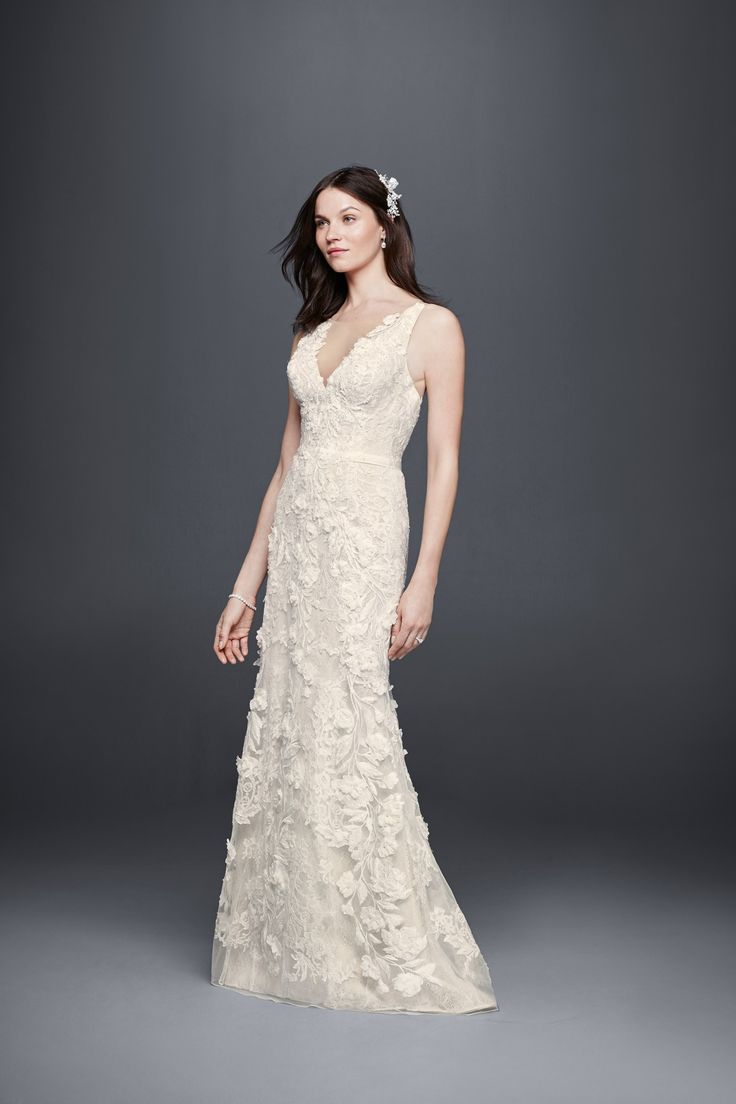 for the romantic bride tank sheath wedding dress with 3d flowers by priscilla of boston