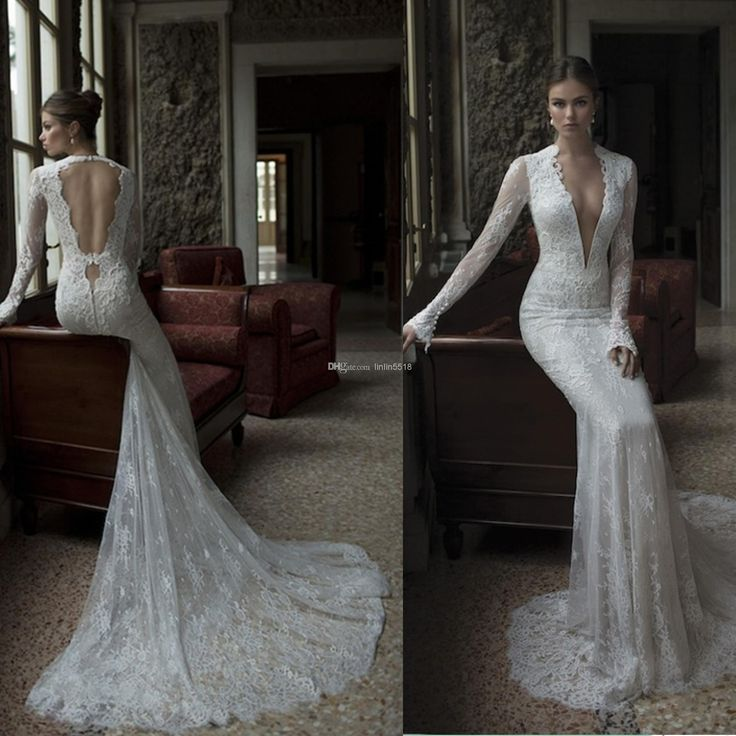Wholesale 2014 Sexy Backless With Dark V Neck Long Sleeves Vintage Beaded Mermaid Lace Beach Wedding Dresses Bride Gowns Dress Berta Winter 2014 New, Free shipping, $148.46/Piece   DHgate Mobile